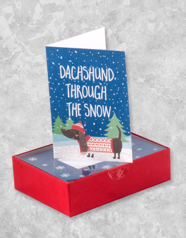 Dachshund Through The Snow (16 Count Boxed Christmas Cards)
