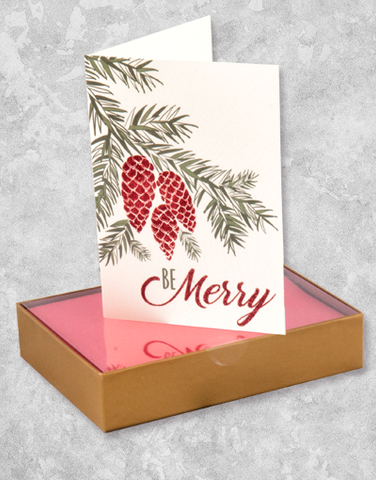 Pine Branch Merry (16 Count Boxed Christmas Cards)