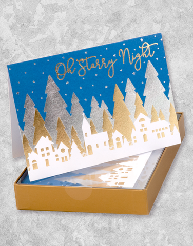 Oh Starry Night Village (16 Count Boxed Christmas Cards)