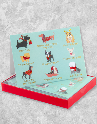 Holly Jolly Hounds (12 Count Boxed Christmas Cards)