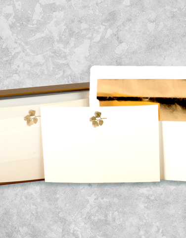 Golden Pinecone Flat Correspondence Cards
