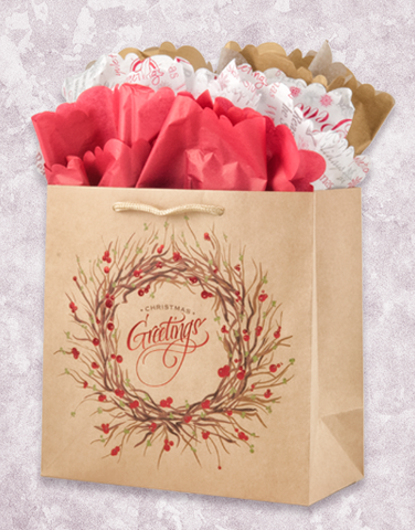 Winter Wreath (Medium Square) Gift Bags