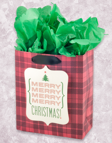 Merry Merry Christmas Plaid (Petite) Gift Bags