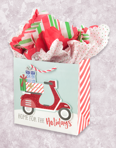 Holiday Scooter (Medium Square) Gift Bags