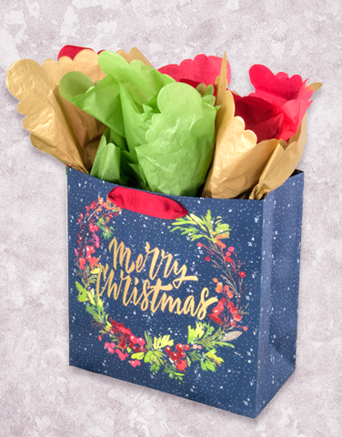 Christmas Botanical Wreath (Medium Square) Gift Bags