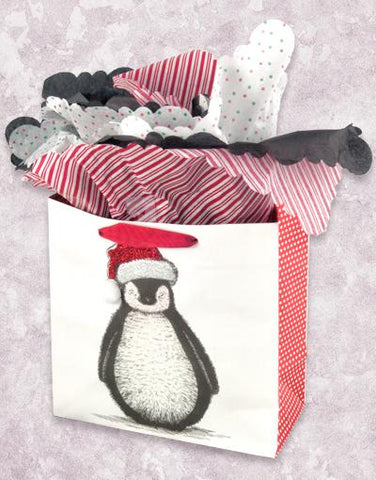 Christmas Penguin (Medium Square) Gift Bags