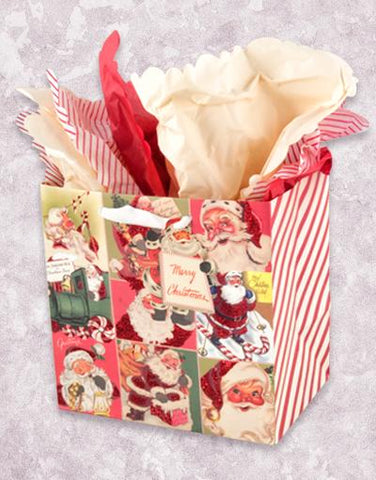 Happy Vintage Santas (Medium Square) Gift Bags