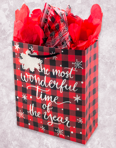 Most Wonderful Time Plaid (Garden) Gift Bags