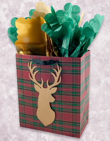 Plaid Kraft Deer (Garden) Gift Bags