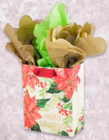 Watercolor Poinsettia Christmas (Petite) Gift Bags