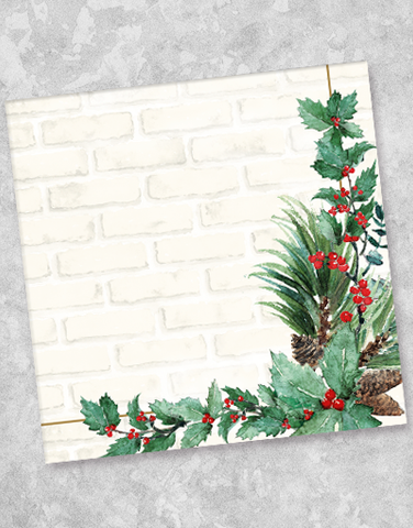 Holiday Rustic Brick Beverage Napkins (36 Count)