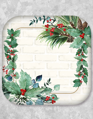 Holiday Rustic Brick Dessert Plates (15 Count)