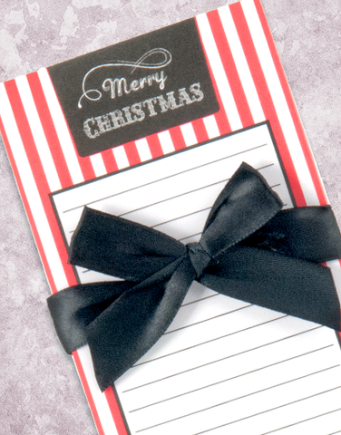 Merry Christmas Chalkboard Stripes Shopping List Pad