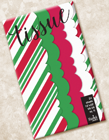 Holiday Stripe Scalloped Tissue Paper