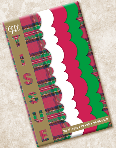 Christmas Plaid Scalloped Tissue Paper