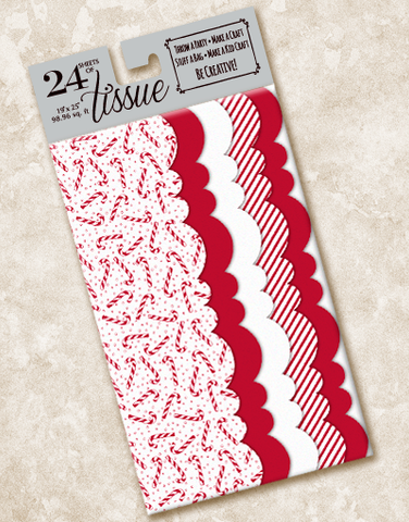 Candy Cane Fun Scalloped Tissue Paper