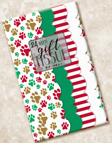 Pawprint Holiday Scalloped Tissue Paper