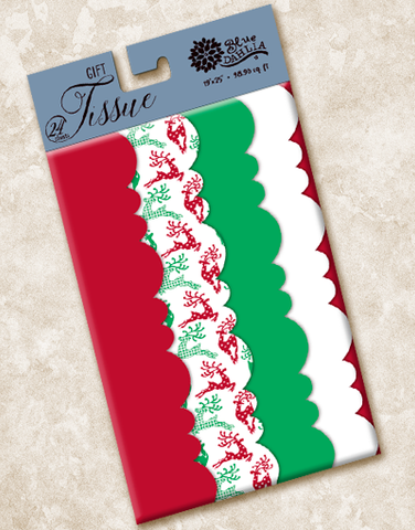 Traditional Reindeer Frolic Scalloped Tissue Paper