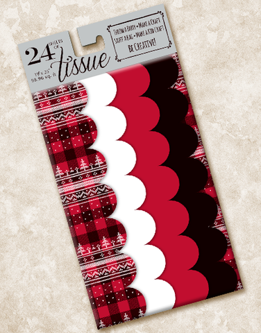 Buffalo Plaid Sweater Scalloped Tissue Paper