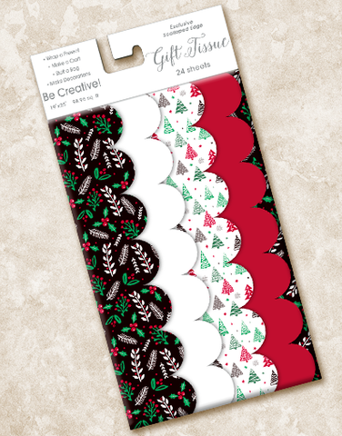 Nordic Holiday Scalloped Tissue Paper