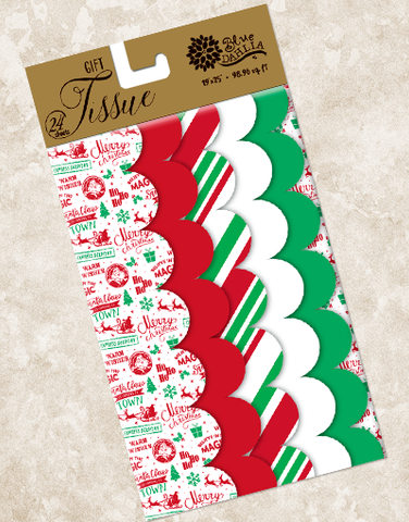 Christmas Stamps Scalloped Tissue Paper