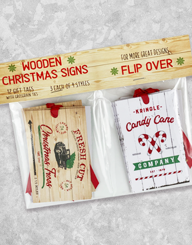 Wooden Christmas Signs (12 Count Holiday Gift Tags)
