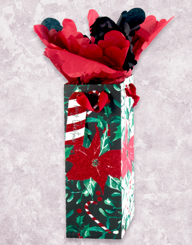 Poinsettias & Candy Canes Wine Gift Bags