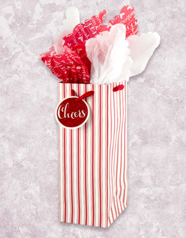 Red Peppermint Stripe Wine Gift Bags