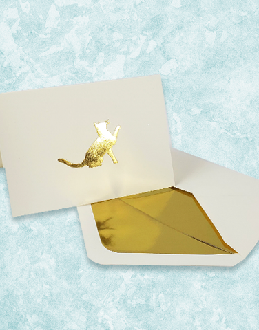 Golden Cat Embossed Note Cards