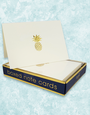 Golden Pineapple Embossed Note Cards