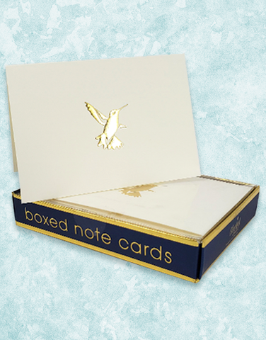 Golden Hummingbird Embossed Note Cards