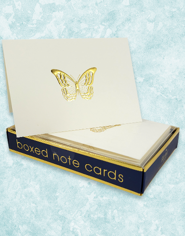 Golden Butterfly Embossed Note Cards
