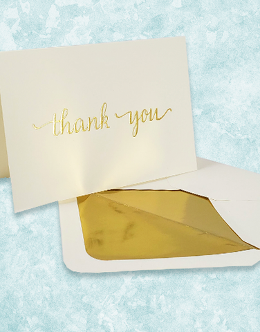 Golden Thank You Embossed Note Cards