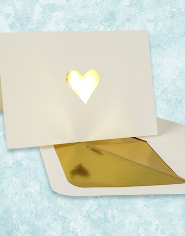 Golden Heart Embossed Note Cards
