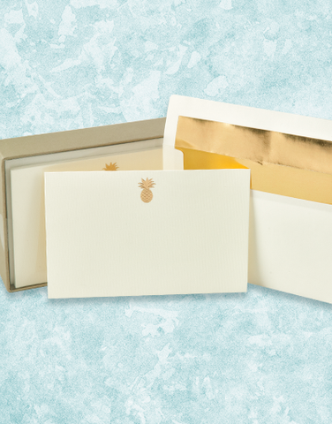 Golden Pineapple Flat Correspondence Cards