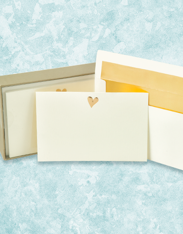 Golden Heart Flat Correspondence Cards