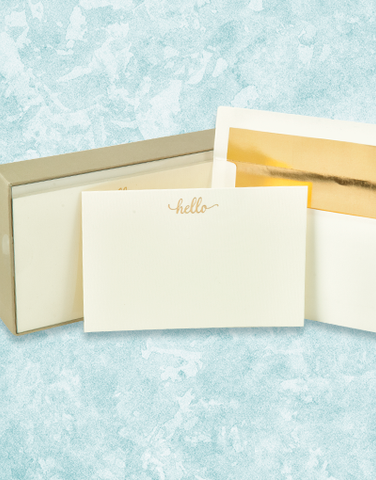 Golden Hello Flat Correspondence Cards