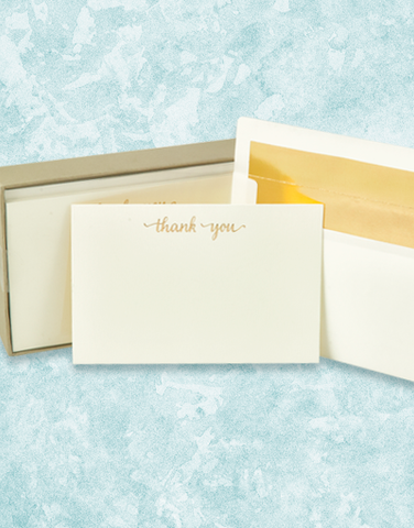 Golden Thank You Flat Correspondence Cards