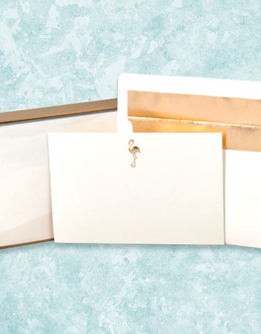 Golden Flamingo Flat Correspondence Cards