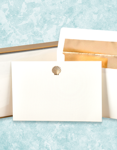 Golden Scallop Flat Correspondence Cards
