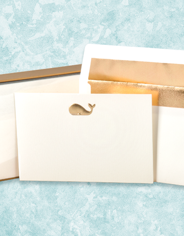 Golden Whale Flat Correspondence Cards