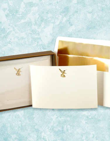 Golden Hummingbird Flat Correspondence Cards