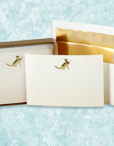 Golden Cat Flat Correspondence Cards