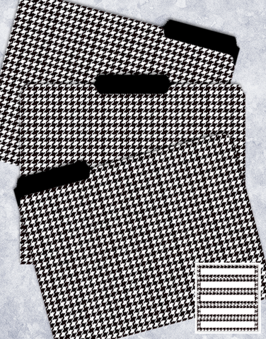 Black & White Houndstooth File Folders