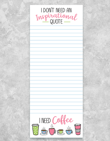 Inspirational Coffee Chunky List Pad