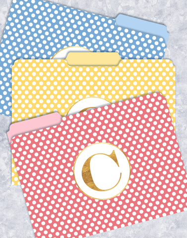 Simple Dots Monogram C File Folders