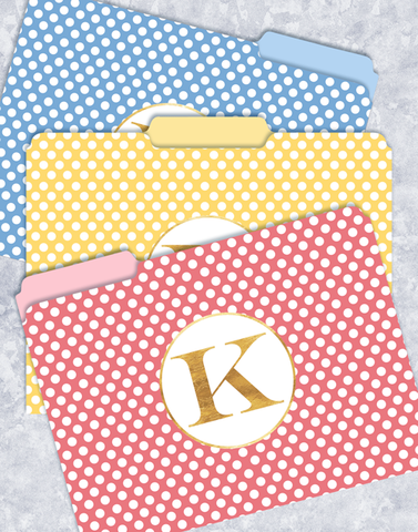 Simple Dots Monogram K File Folders