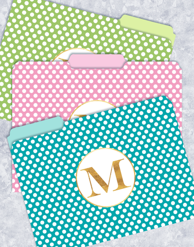 Simple Dots Monogram M File Folders
