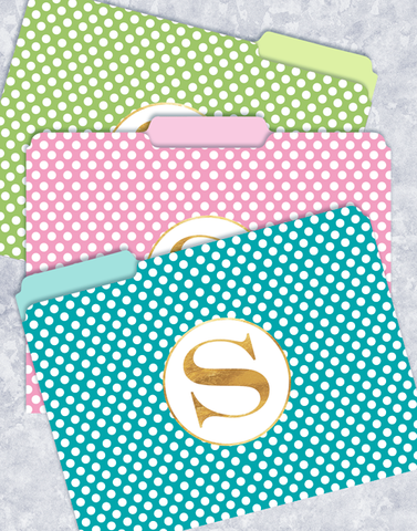 Simple Dots Monogram S File Folders
