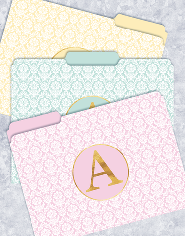 Pretty Damask Monogram A File Folders